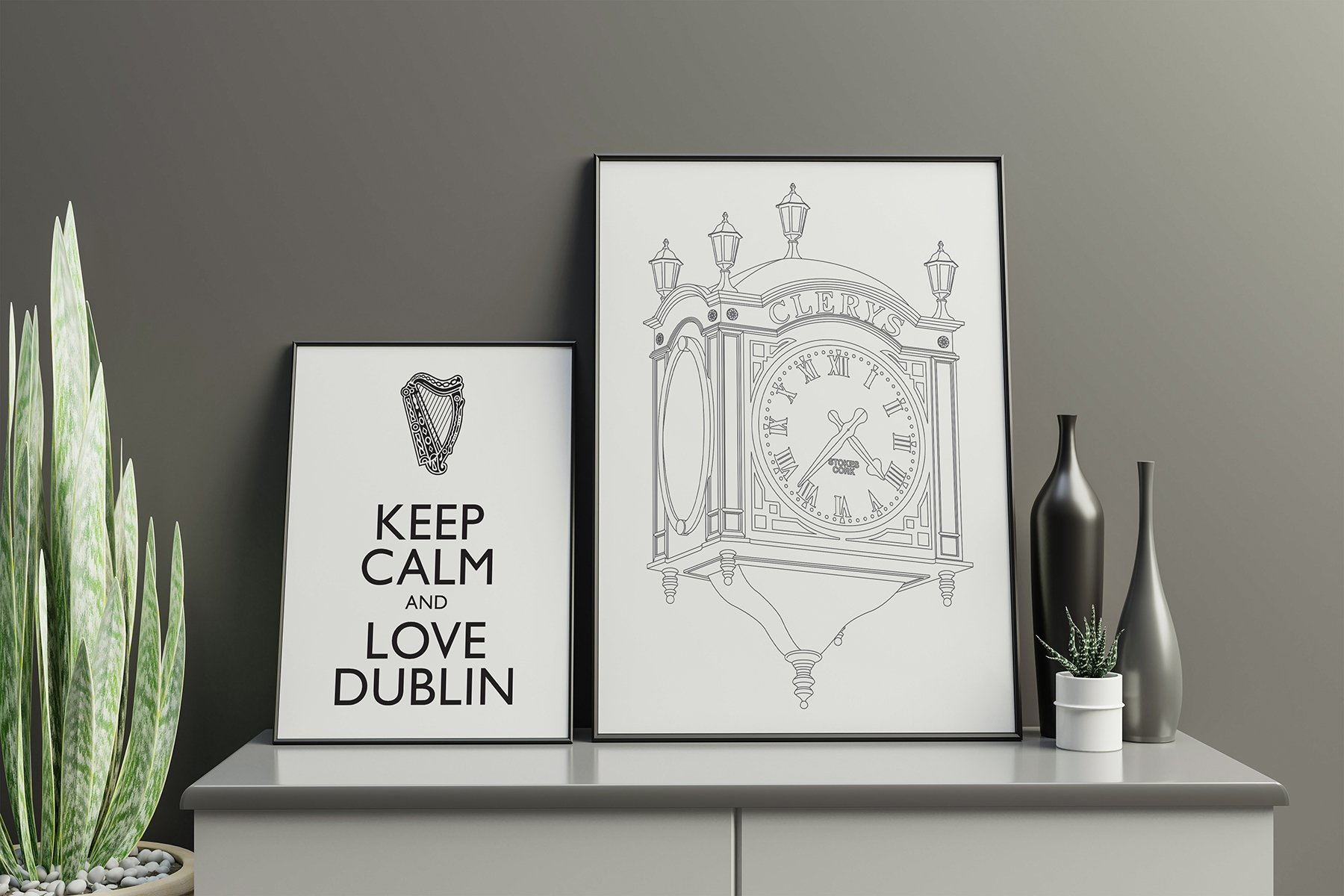 Frame mockup in living room interior | Homebird | Irish Wall Art